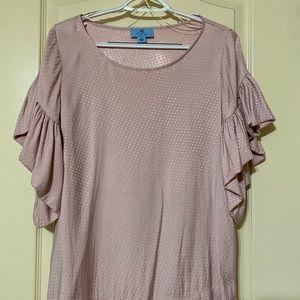 Light pink poka dot textured shirt
